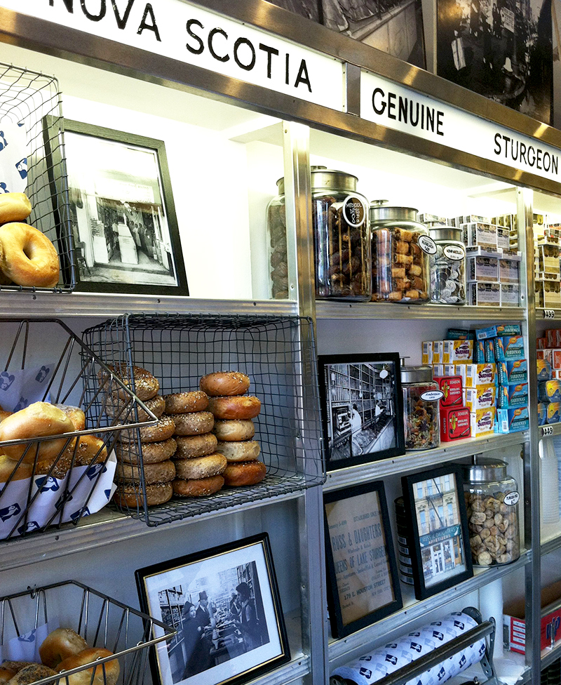 Counter with bagels and pictures
