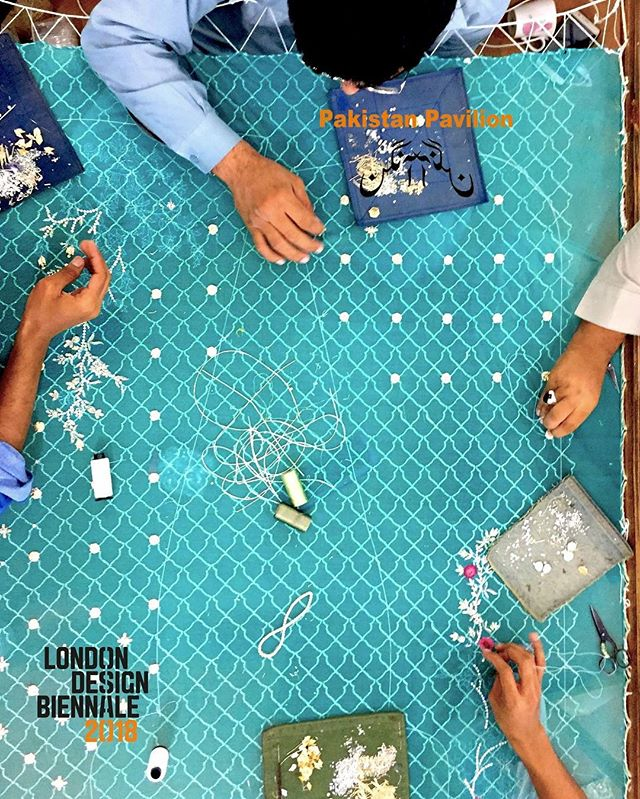 Where the finger meets the needle a story of devotion begins #pakistanpavilion #aangan #waggingtongues #LDB18 #londondesignbiennale #design #london #biennale #emotionalstates #SomersetHouse