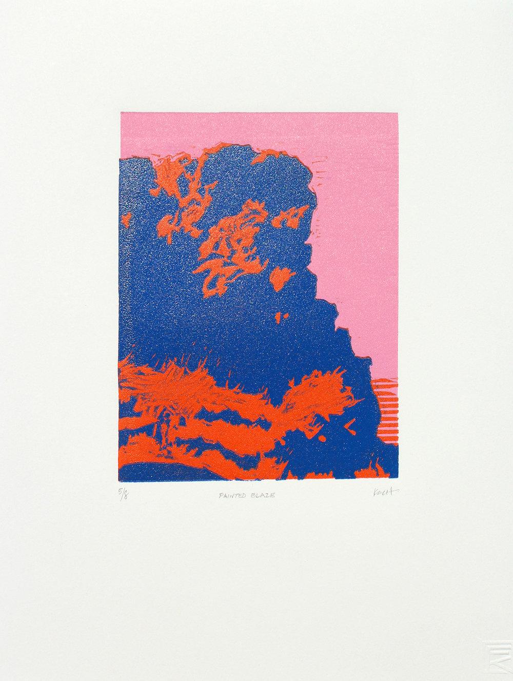 "Painted Blaze  Linocut + Monotype 11"" x 15"" Edition of 8"