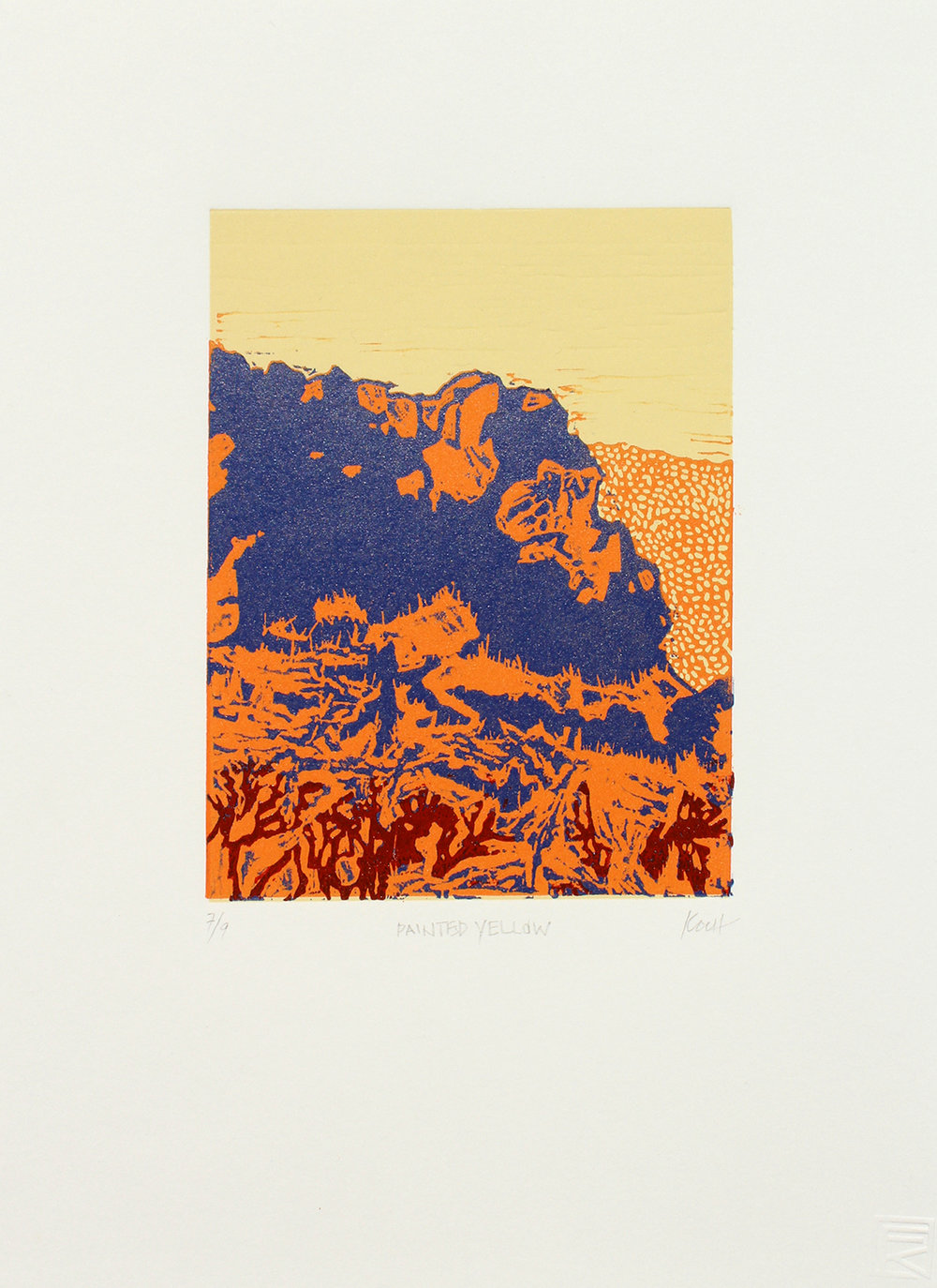 """Painted Yellow  Linocut + Monotype 11"""" x 15"""" Edition of 9"""