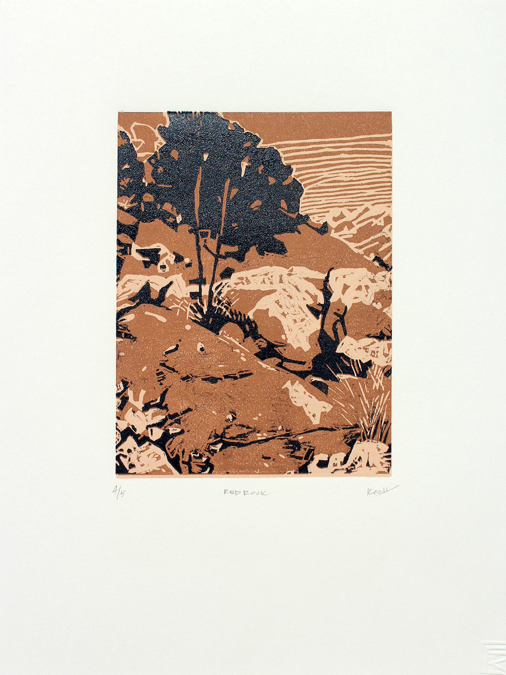 """Red Rock 1 Linocut 11"""" x 15"""" Edition of 5"""