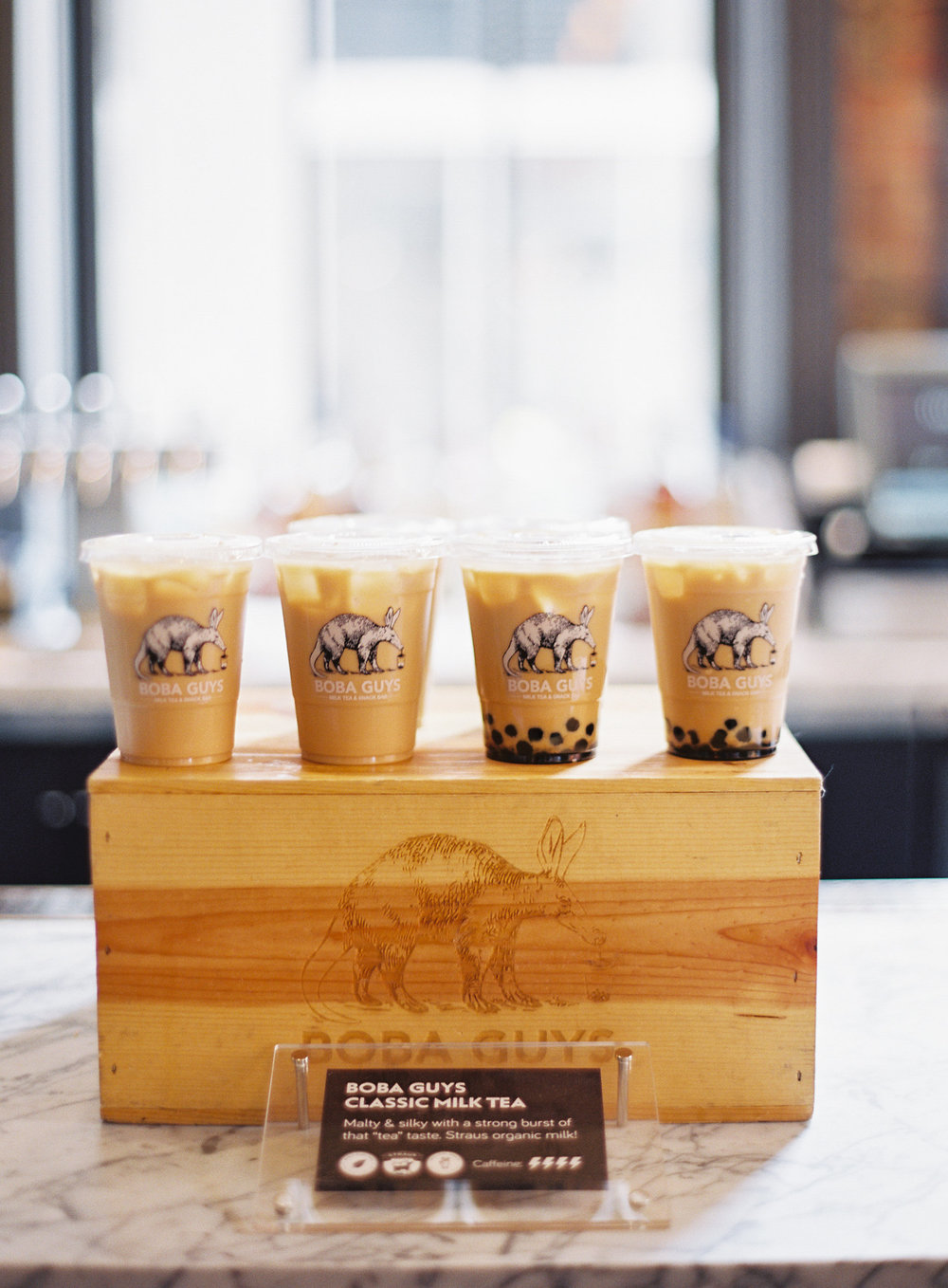 Guests were greeted at the door by sweet and refreshing milk tea from  Boba Guys  - best welcome drink idea ever.