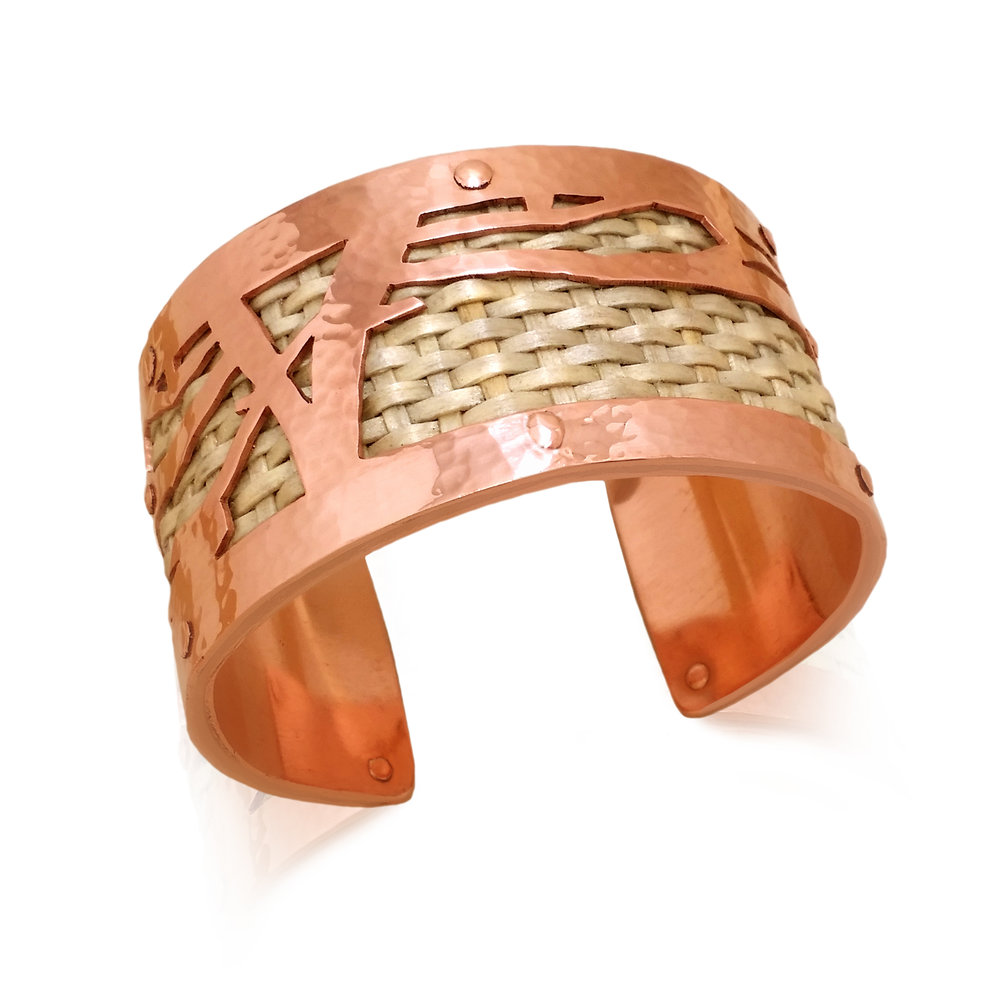 "Jason Brown, ""Wabanaki Creation Cuff""  , 2015.     Woven Ash and Copper. Photo Courtesy of Artist."