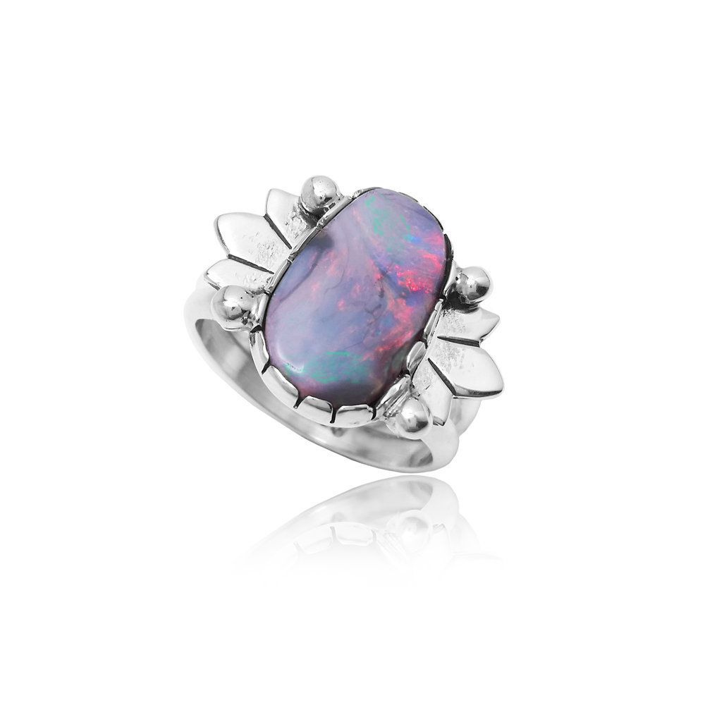"Jason Brown, ""Australian Opal Ring"", 2015.     White Australian Opal and Sterling Silver. Photo Courtesy of Artist."