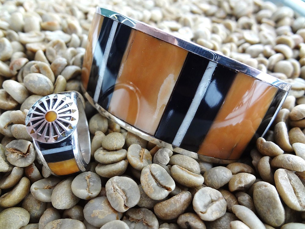 Fossilized Ivory Bracelet and Ring Set