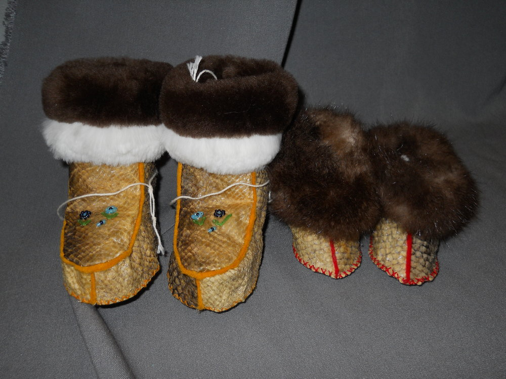 Fish Skin Booties with Sea Otter Fur