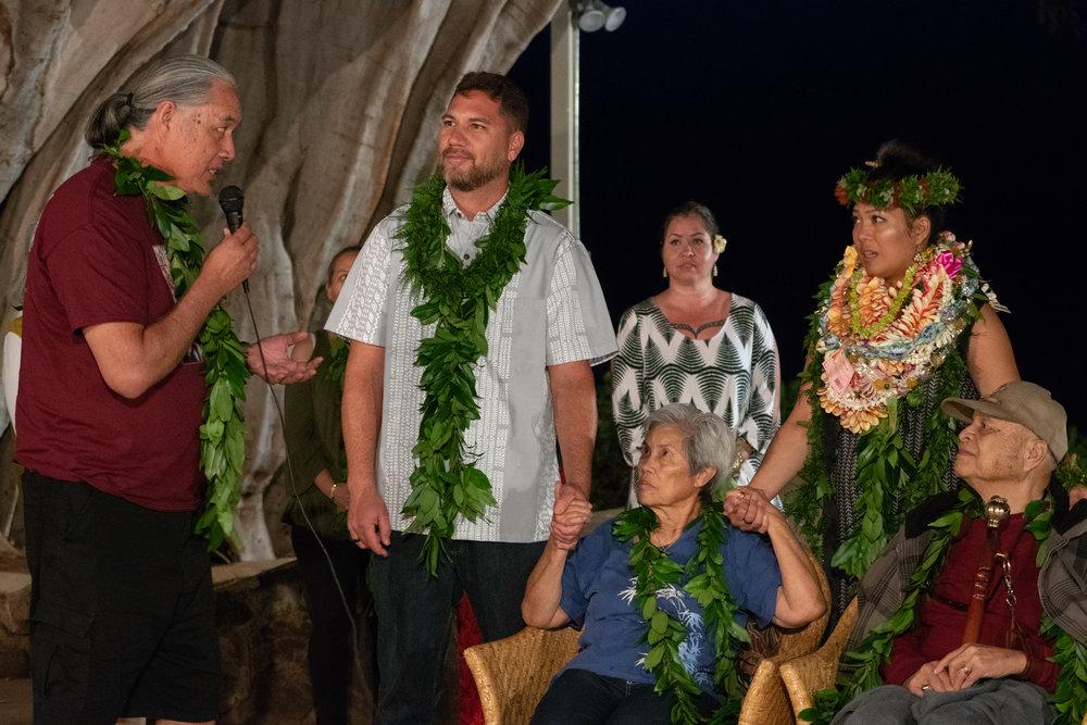 2016 CSA Honoree, Duncan Ka'ohu Seto (Native Hawaiian) speaks during Kanoelani's Honoring. Photo by Josiah Ching