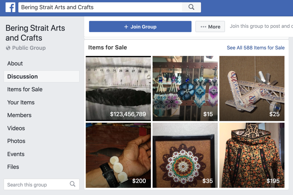 The Bering Strait Arts and Crafts Facebook Page allows remote artists access to a thriving digital market.