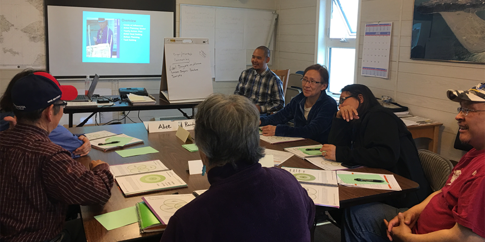 Participants from Gambell, AK participate in a Native Artist Professional Development training.