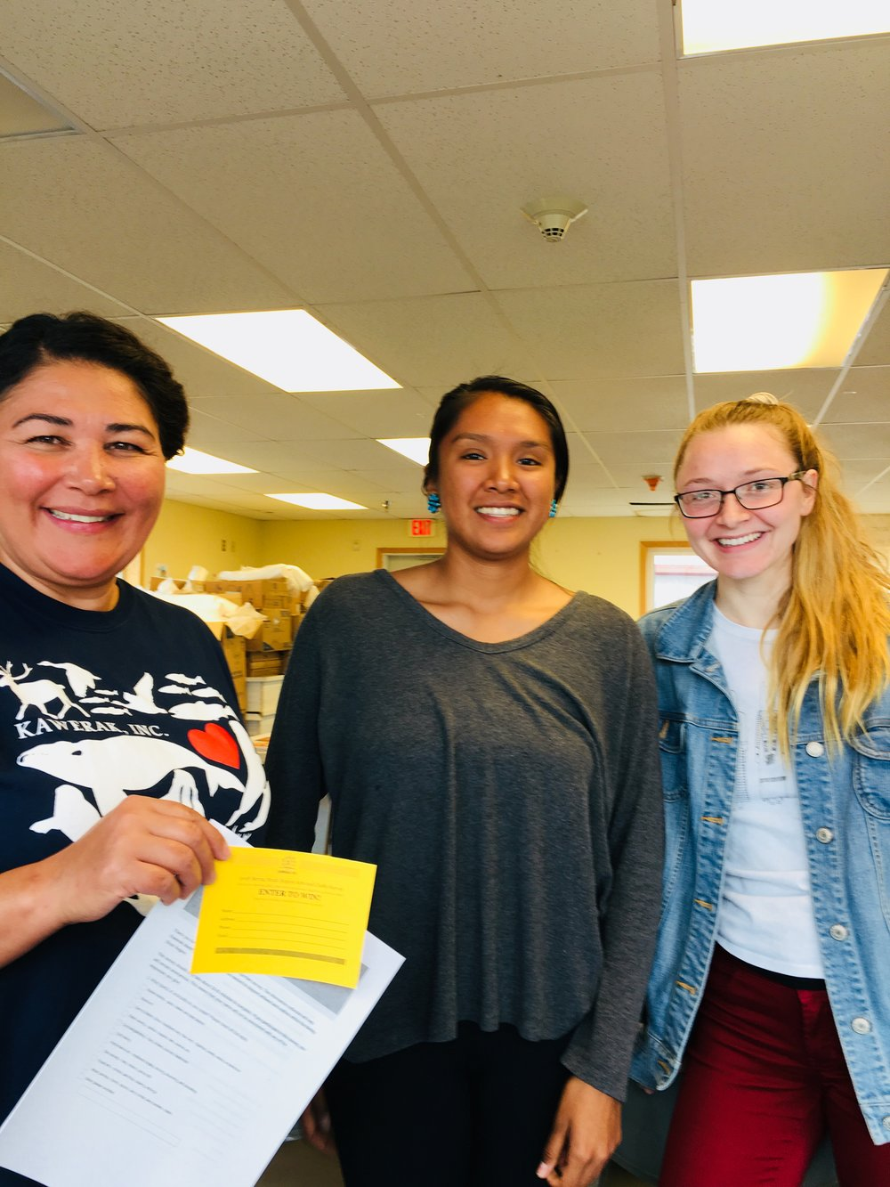 Alice (left) with Kawerak's two Dartmouth interns who are helping administer the survey.