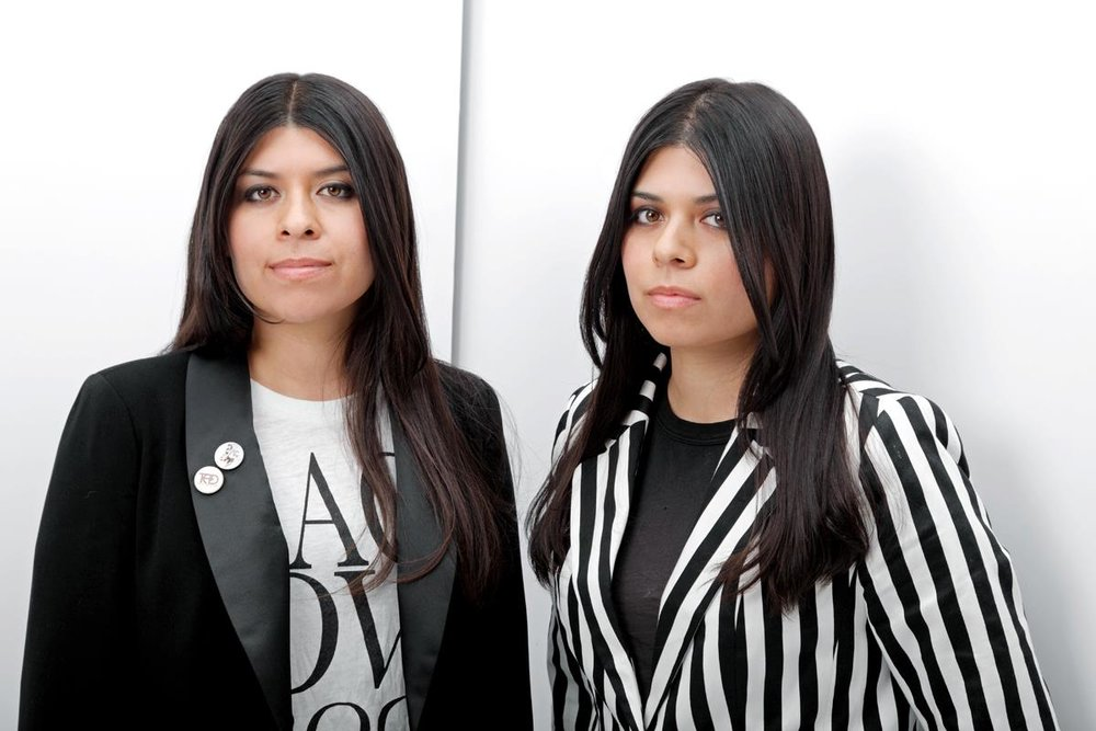 Danielle and Desiree De La Rosa (Kiowa Indian Tribe of Oklahoma, Three Affiliated Tribes of the Fort Berthold Reservation), the two sisters who make up the band, Miracle Dolls.