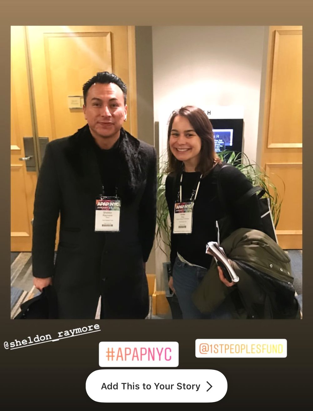 2019 Cultural Capital Fellow, Sheldon Raymore (Cheyenne River Sioux Tribe) and FPF Program Manager of Fellowships, Amber Hoy at APAP|NYC