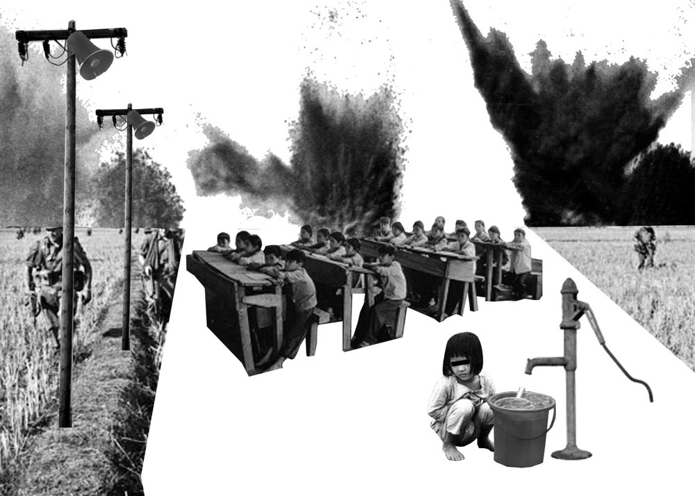 Collage of a little girl waiting for water by the pump with a black bar over her eyes, rows of school children, and American soldiers walking around the rice fields. There are many explosions in the background.