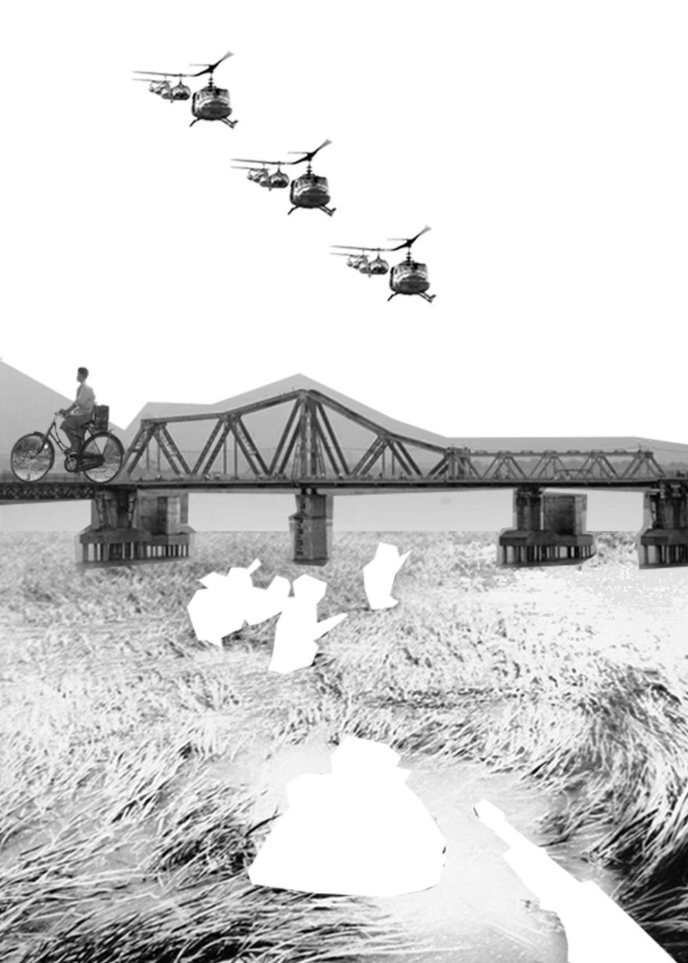 Collages of helicopters flying over the rice field with soldiers in the water being cut out as a person bikes over the bridge.