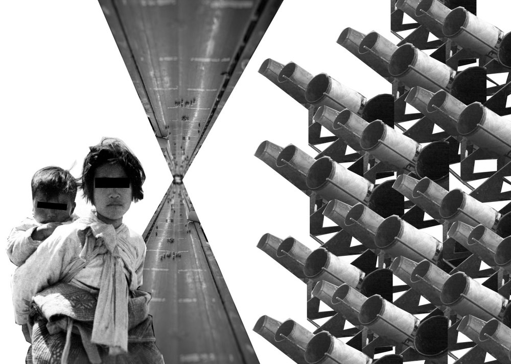 Collage of a girl carrying her infant sibling on her back. There are black bars over their eyes. A road with refugees are mirrored horizontally. Factory objects are repeated to look like cannons pointing at the girl and her sibling.