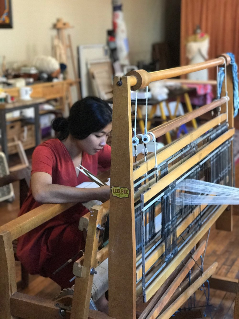Weaving on my favorite floor loom