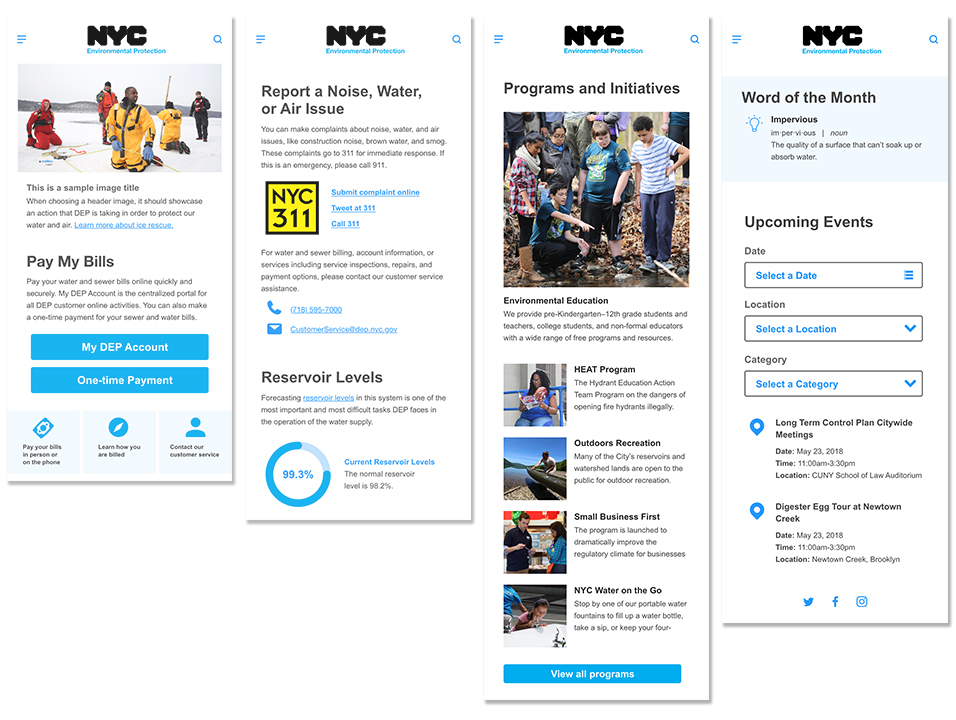 Interactive homepage mobile mockups using Adobe XD
