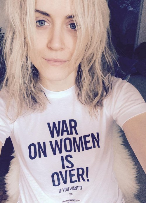 "Actress Taylor Schilling wearing the ""War on Women is Over! If You Want It"" T-shirt"