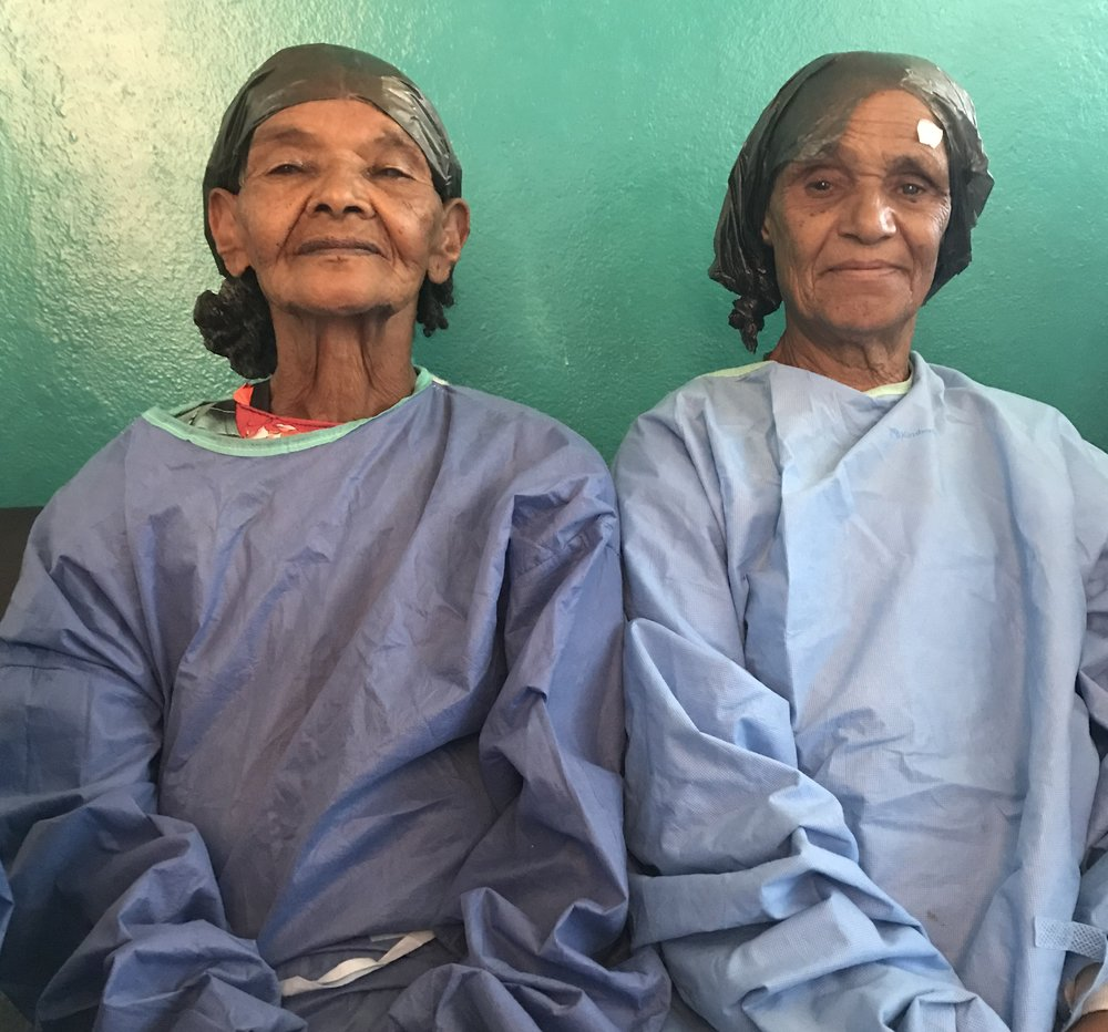 Two patients from this year's Cataract Campaign wait to receive surgery at Hossana Hospital.