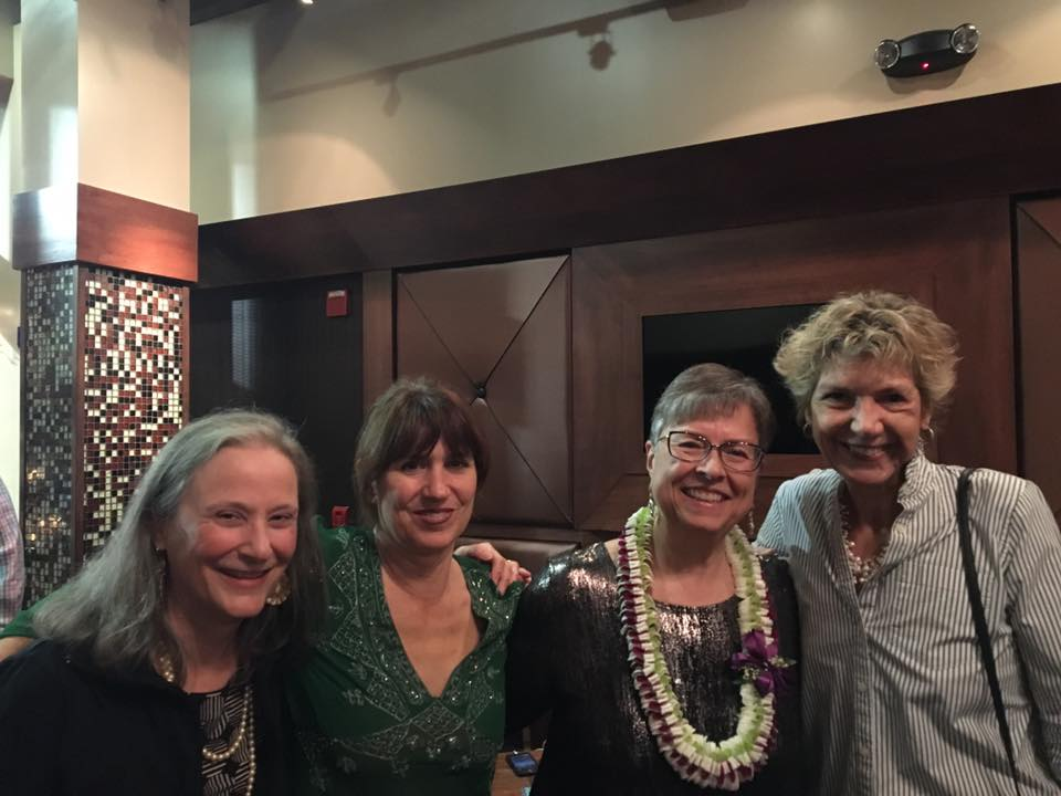 With my flamingo writing sisters, Barbara yoder, tania pryputnniewicz and marcia meier