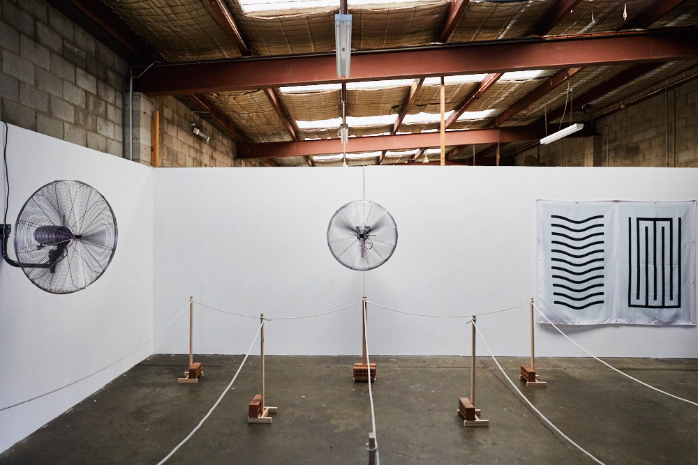 Momentum, 2017, exhibition in collaboration with Chanelle Collier. Installation view, Momentum at Factory 49, Marrickville, 2017. Photo: Tawfik Elgazzar