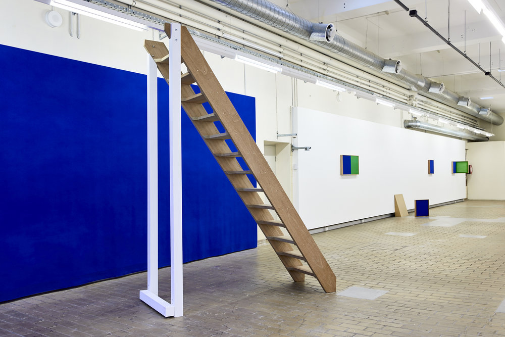 Flight of Stairs,  2014 (Modified, 2017). Timber, acrylic. 292 x 81 x 225cm. MFA final presentation. Installation view,  Verso,  at  National Art School,  2017. Photo: Robin Hearfield