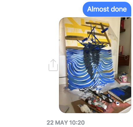 I text clients the commission progress... Here is Sailing Forward, London.