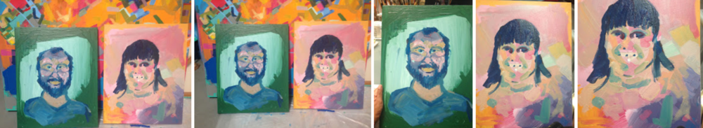 Progress sketches. Initial stages of portraits, 2016.