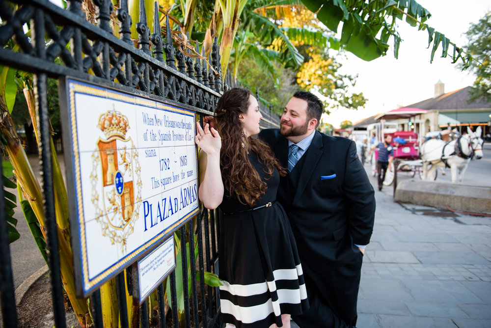 Happy couple during a surprise engagement shoot in New Orleans