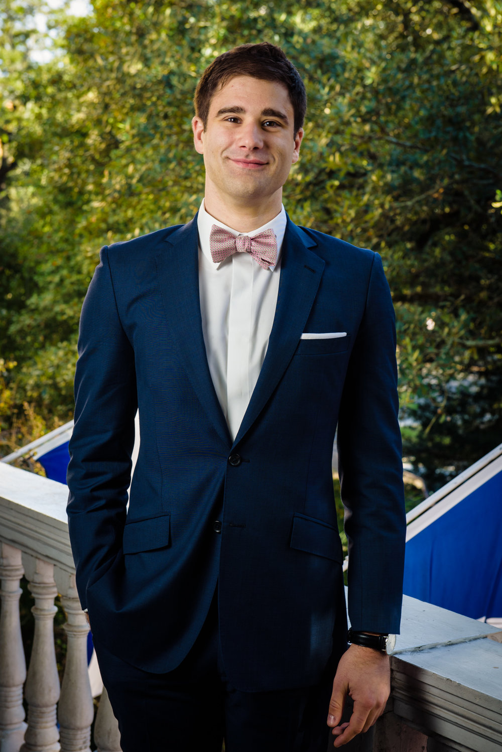 Groom's portrait at the Columns Hotel, New Orleans