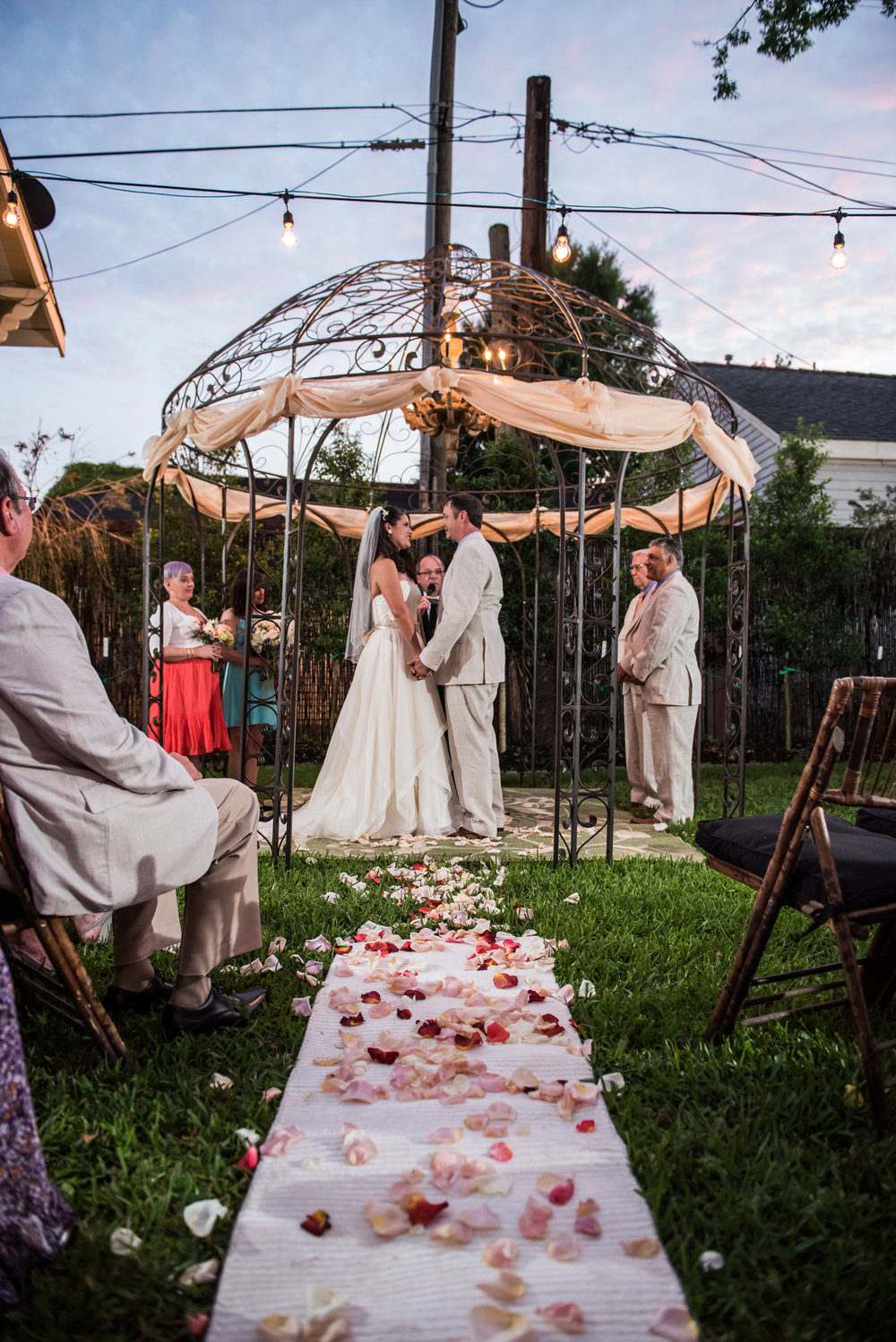 Backyard wedding ceremony in Lakeview, New Orleans