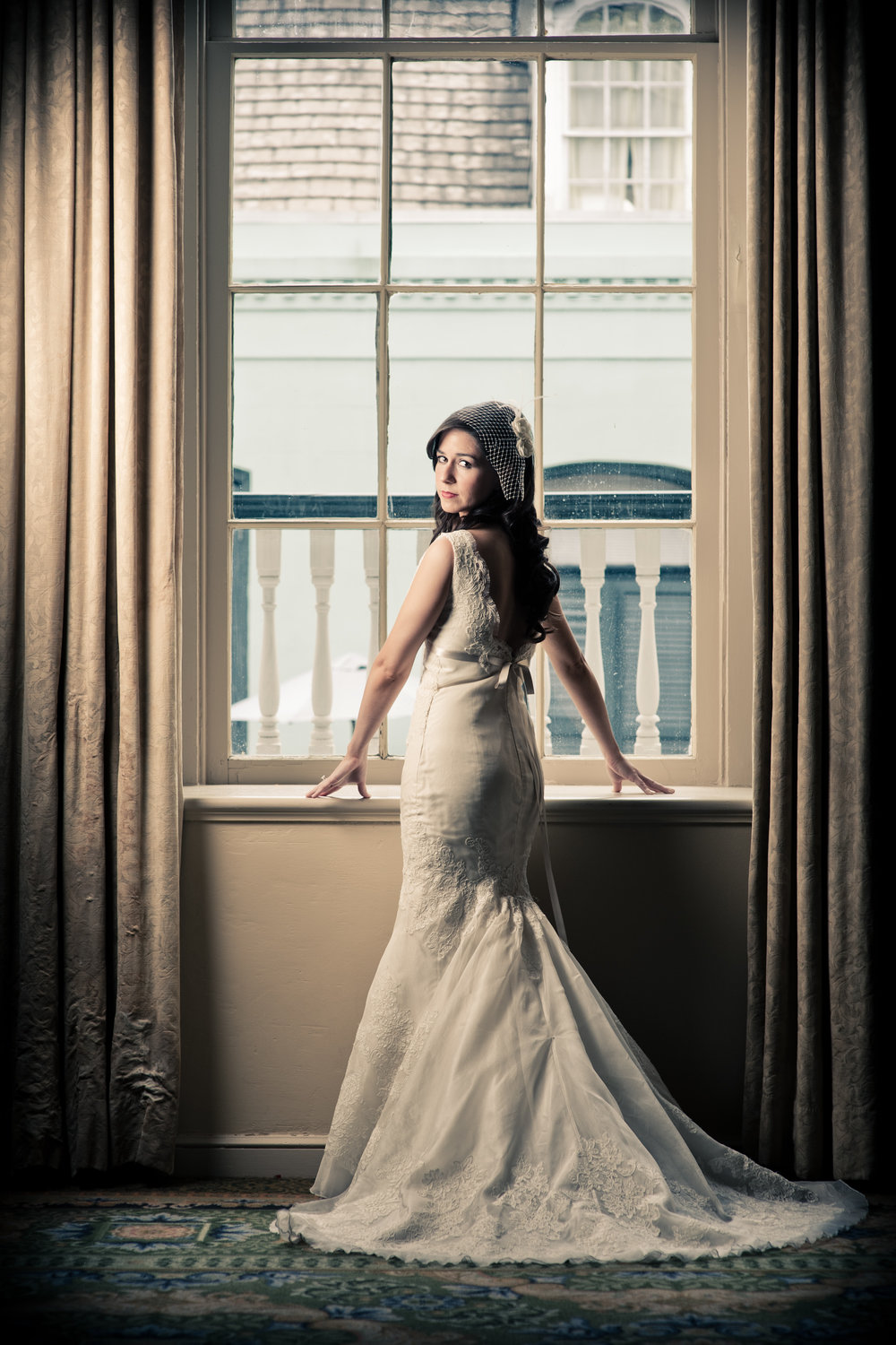 Bridal portrait at the Bourbon Orleans hotel, New Orleans