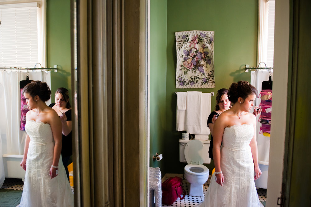 A bride preparing herself for her New Orleans wedding, photographed by Scott Myers