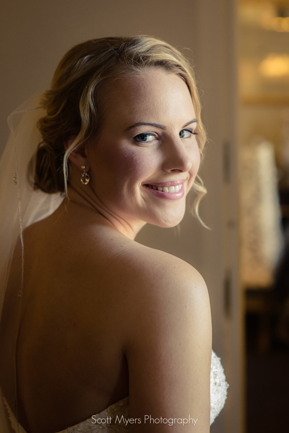 Bride in suite at the Royal Sonesta Hotel, French Quarter, New Orleans, Louisiana