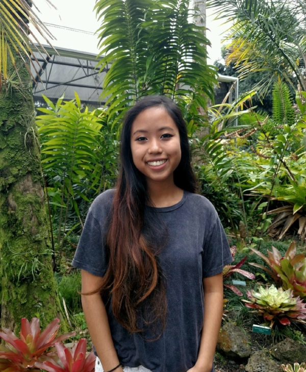 Malia Takakusagi, Biology B.S. student, working on the filling of terrestrial ecological 'space' in Hawaii