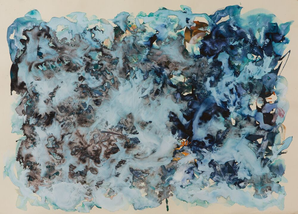 "BLUE WITCH, 27""X39"", ink/plaster on paper, 2017 - SOLD"