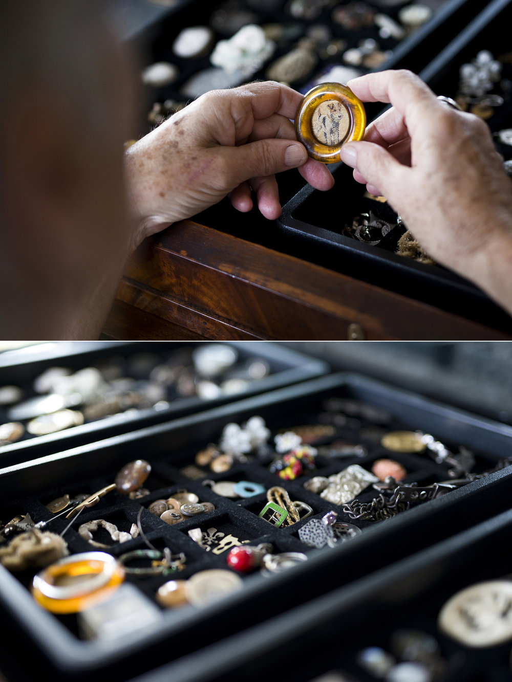 TOP: Barb handles a piece from a tray in the 'GOMA cabinet' (more on this below). BOTTOM: A lift-out tray full of components, found objects and little curiosities that help inspire design ideas with clients who visit the studio.