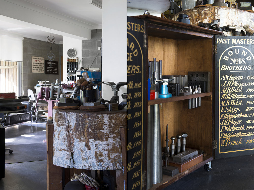 """LEFT: View across workshop floor with old butcher's block in the foreground. """"It's a great rock solid, sound-deadening hammering spot!"""" laughs Barb. RIGHT: Tools in vintage cabinet."""