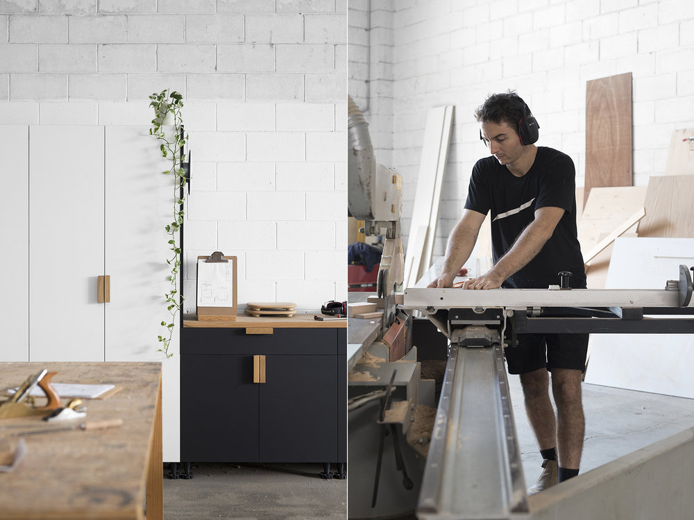 LEFT: Useful storage cupboards were built from offcuts to minimise waste. RIGHT: Rory using the panel saw to cut a piece of timber to the correct length.