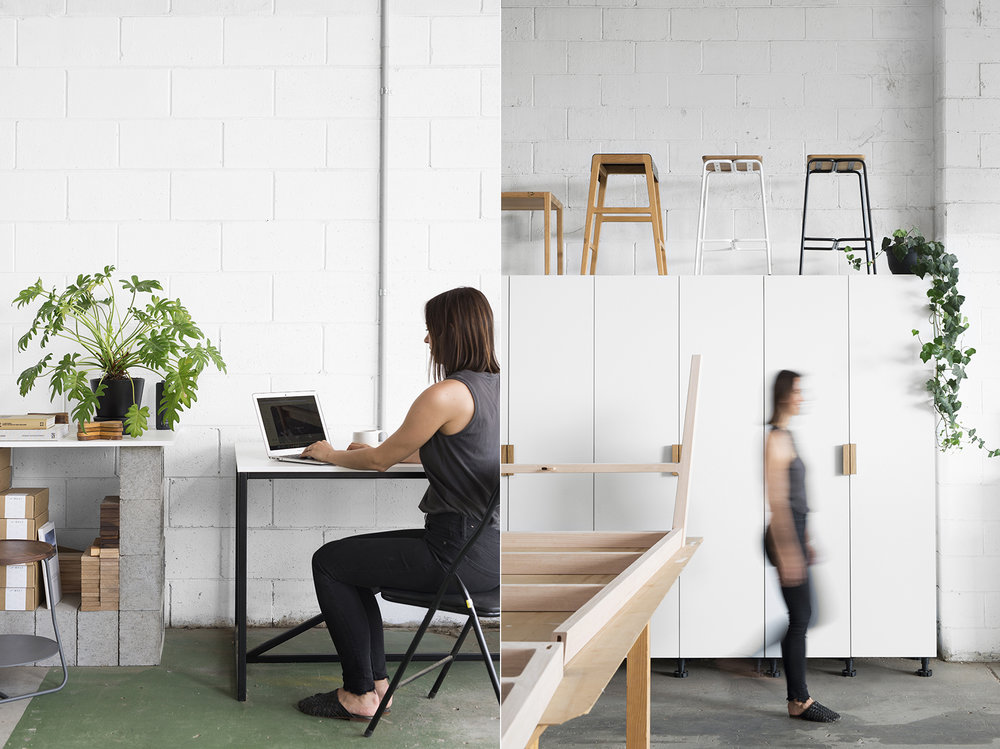 LEFT: Kati working hard to keep those emails at bay! RIGHT: Moving through the storage and finishing area.