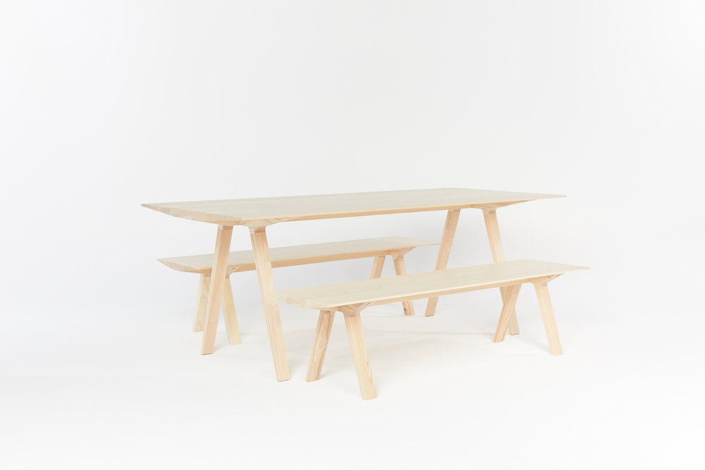 The Louis Dining Table and bench seats - designed by Tom Fereday and made by Mast. Photo courtesy of Mast.