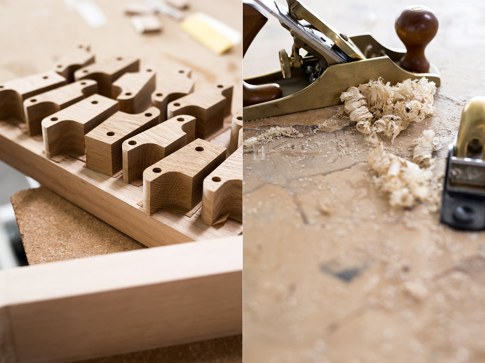 LEFT: Table components ready to be used. RIGHT: Hand planes and wood shavings.