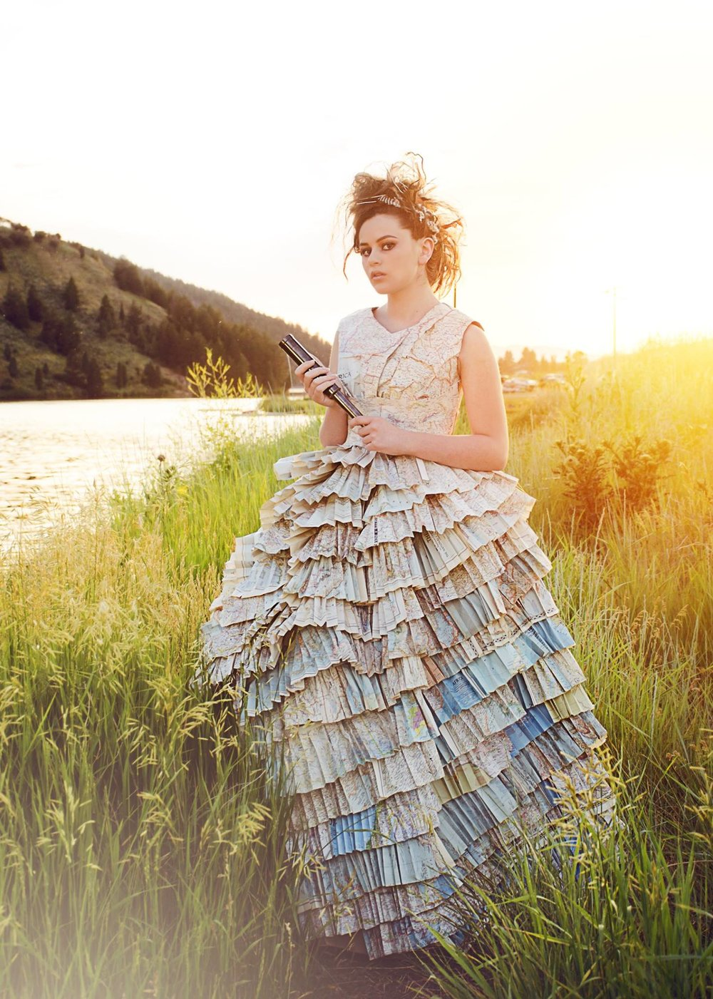 Dress made from upcycled National Geographic maps. Photo by Amanda Conley, hair and makeup by Riley Dixon.