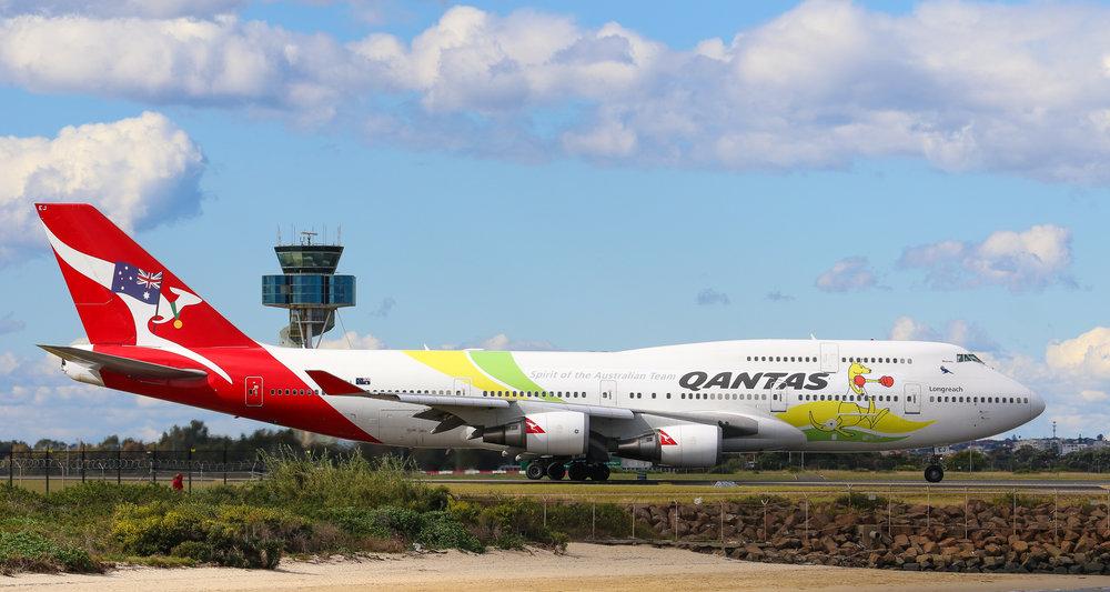 VH-OEJ departing Sydney as QF73 - 20/08/2016