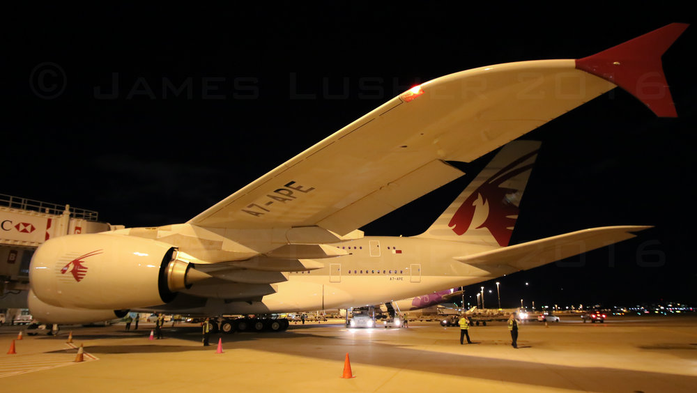 Qatar's inaugural A380 service arriving at the gate in Sydney