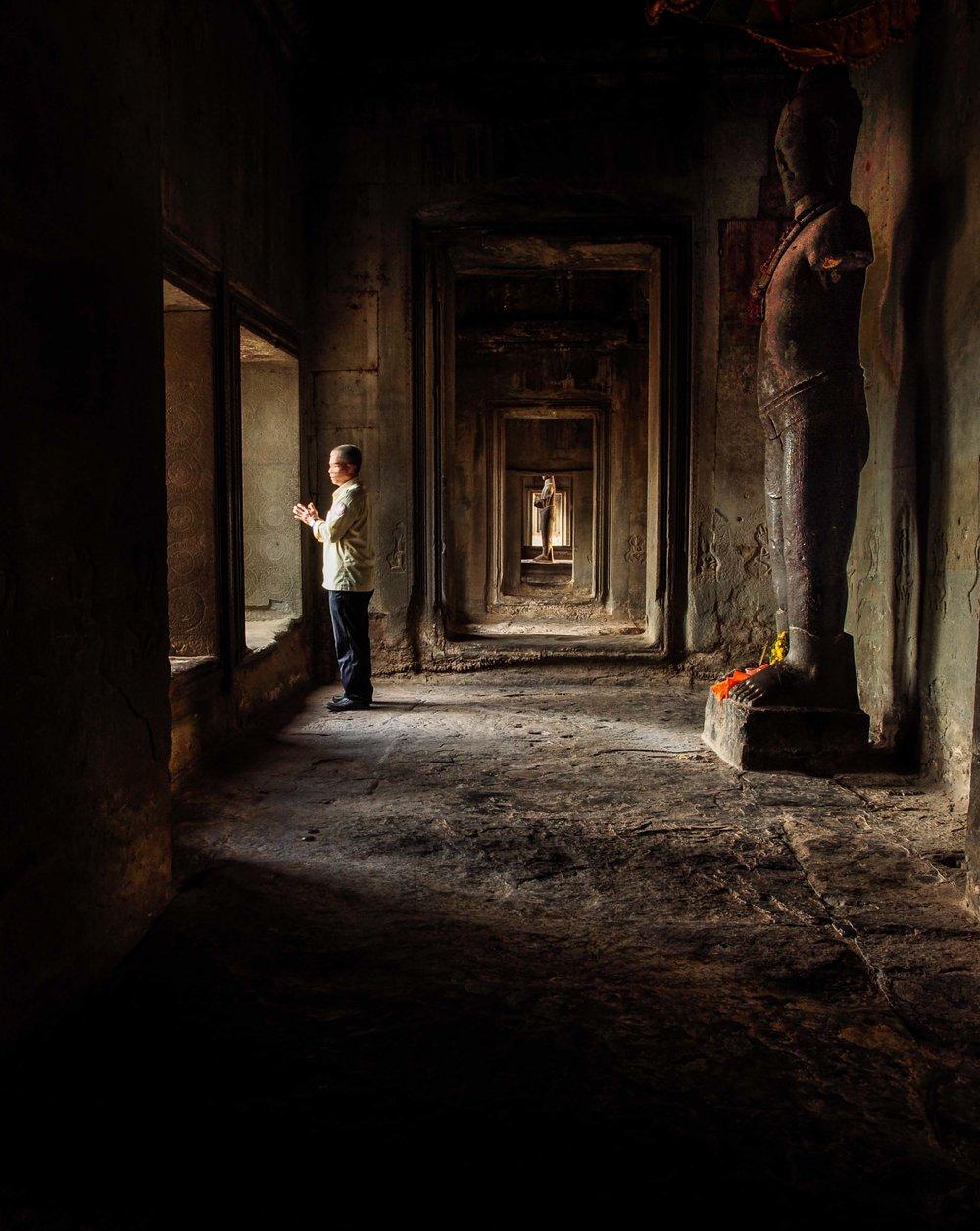 Man at Prayer. Angkor Wat, Angkor Wat, Siem Reap, Cambodia 2009