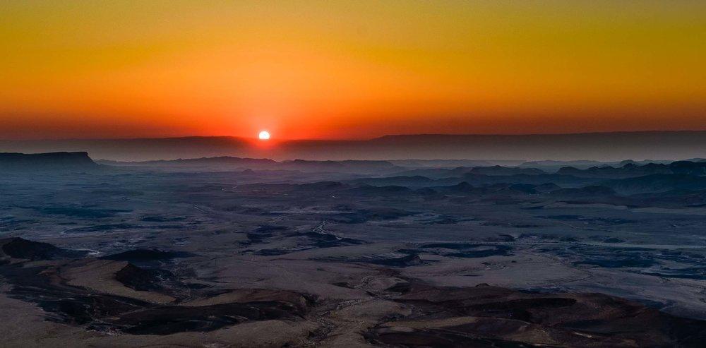 Sunrise Over Sand Dunes - Ramon Crater. Negev Desert, Israel 201