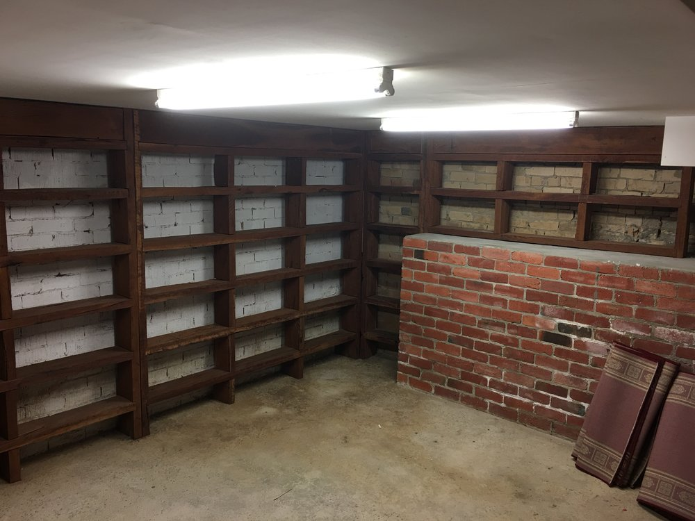 42 shelves to fill with cans