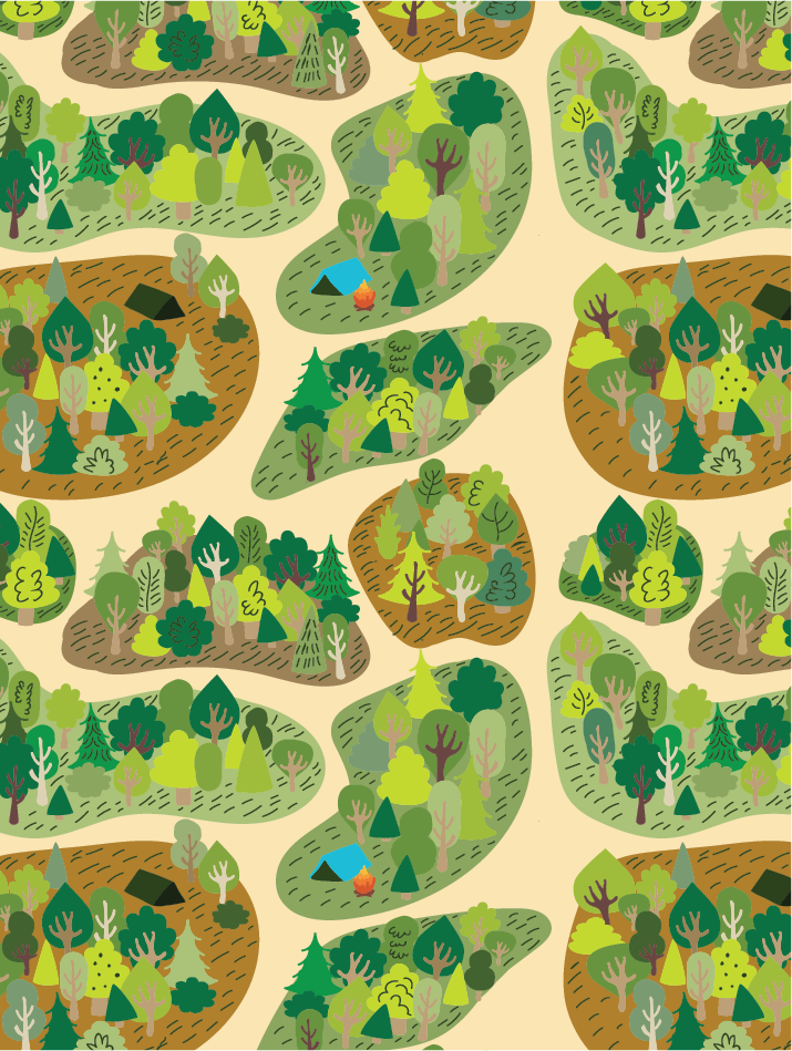 forest camping pattern