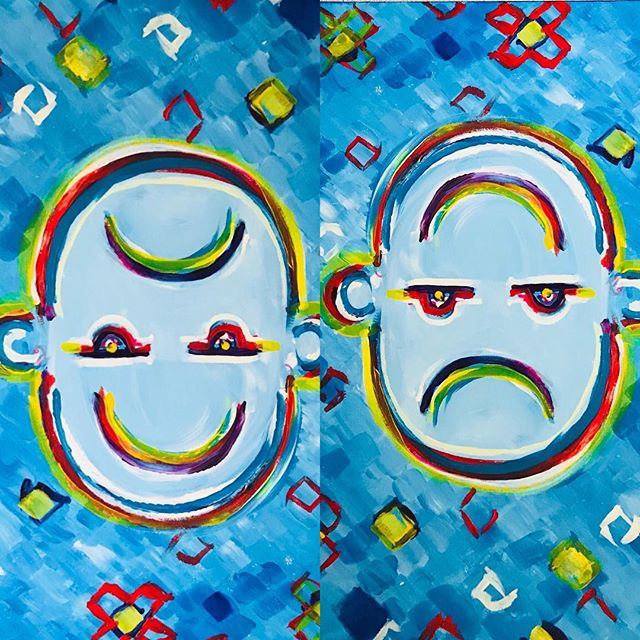 Mr moe was wonderfully captured by this artist .  Please use this happy/ sad face to share feelings with people who love you ,  friends , teachers , health councilors  Meetmrmoe.com  #councelling #playtherapy #teachersfollowteachers #feelings #anxiety #worry